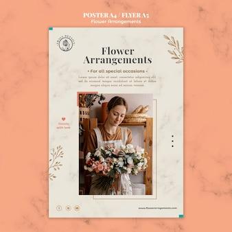 Pionowy szablon plakatu do sklepu z kompozycjami kwiatowymi