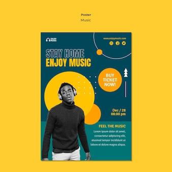 Pionowy szablon plakatu do słuchania muzyki