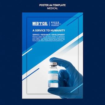 Pionowy szablon plakatu do szczepień przeciwko koronawirusowi