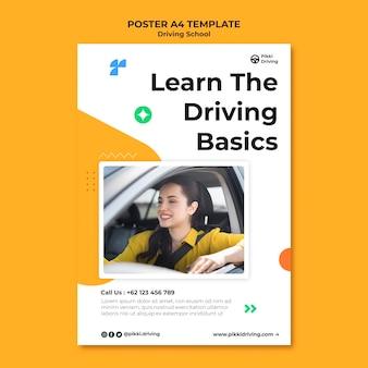 Pionowy szablon plakatu do szkoły jazdy z kobietą i samochodem