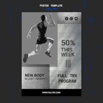 Pionowy szablon plakatu do treningu trx z męskim sportowcem