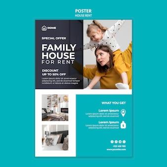 Pionowy szablon plakatu do wynajęcia domu rodzinnego