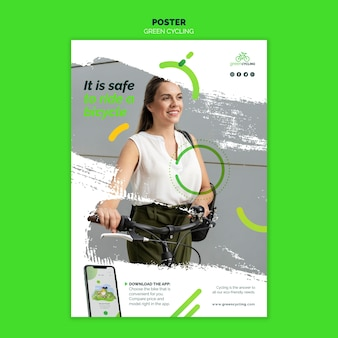 Pionowy szablon plakatu do zielonej jazdy na rowerze