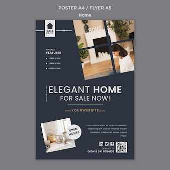Pionowy szablon plakatu do znalezienia idealnego domu