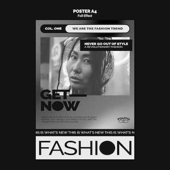 Pionowy szablon plakatu mody z efektem folii