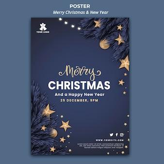 Pionowy szablon plakatu na boże narodzenie i nowy rok