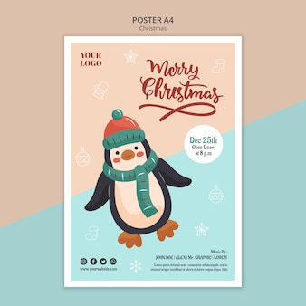 Pionowy szablon plakatu na boże narodzenie z pingwinem
