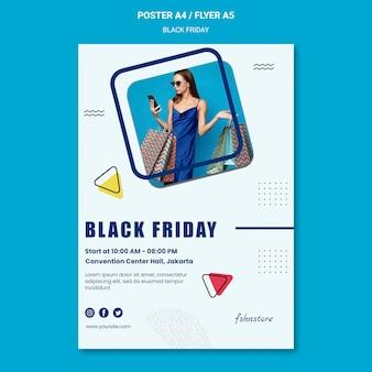 Pionowy szablon plakatu na czarny piątek z kobietą i trójkątami