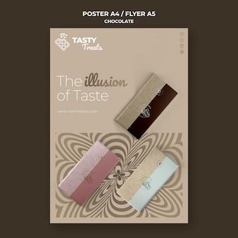 Pionowy szablon plakatu na czekoladę