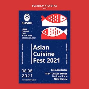 Pionowy szablon plakatu na festiwal japońskiej żywności z sushi