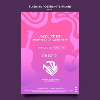 Pionowy szablon plakatu na festiwal jazzowy i klub