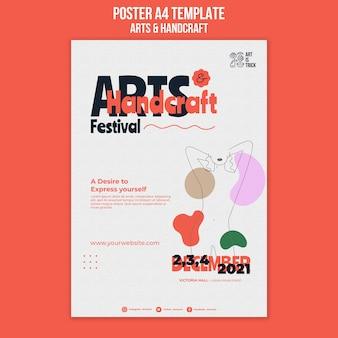 Pionowy szablon plakatu na festiwal sztuki i rzemiosła