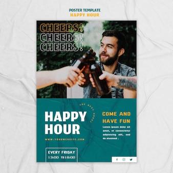 Pionowy szablon plakatu na happy hour