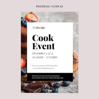Pionowy szablon plakatu na imprezę kucharską