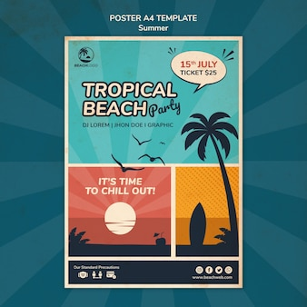 Pionowy szablon plakatu na imprezę na tropikalnej plaży