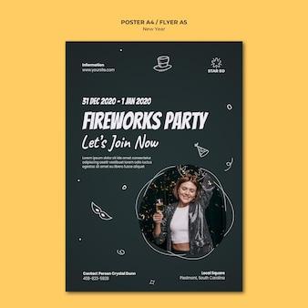 Pionowy szablon plakatu na imprezę sylwestrową