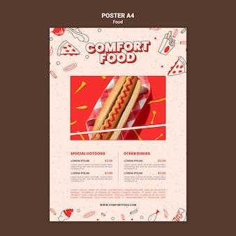 Pionowy szablon plakatu na komfortowe jedzenie hot dog
