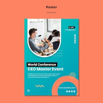 Pionowy szablon plakatu na konferencję ceo master event