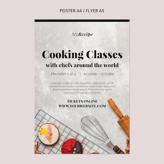Pionowy szablon plakatu na lekcje gotowania