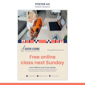 Pionowy szablon plakatu na lekcje gry na gitarze