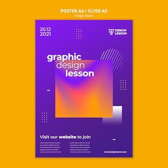 Pionowy szablon plakatu na lekcje projektowania graficznego