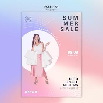 Pionowy szablon plakatu na letnią sprzedaż