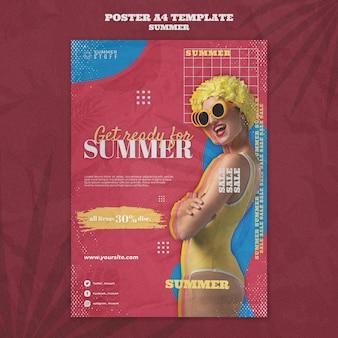 Pionowy szablon plakatu na letnią wyprzedaż z kobietą