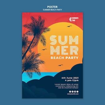 Pionowy szablon plakatu na letnie przyjęcie na plaży