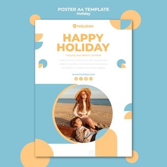 Pionowy szablon plakatu na letnie wakacje
