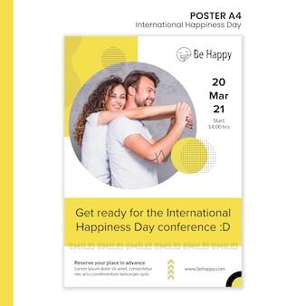 Pionowy szablon plakatu na międzynarodowy dzień szczęścia
