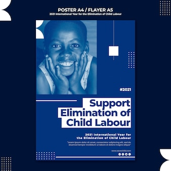 Pionowy szablon plakatu na międzynarodowy rok eliminacji pracy dzieci