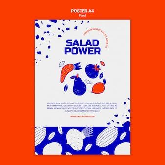 Pionowy szablon plakatu na moc sałatki