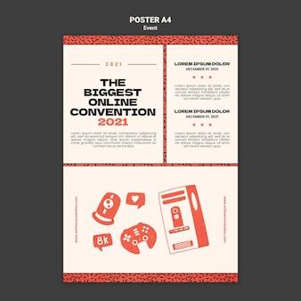 Pionowy szablon plakatu na największą konwekcję online w 2021 r