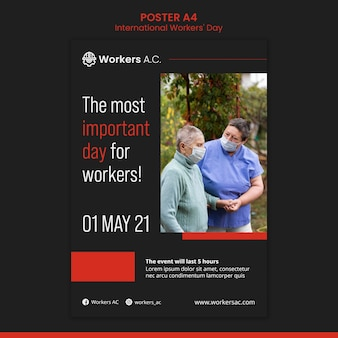 Pionowy szablon plakatu na obchody dnia pracownika międzynarodowego