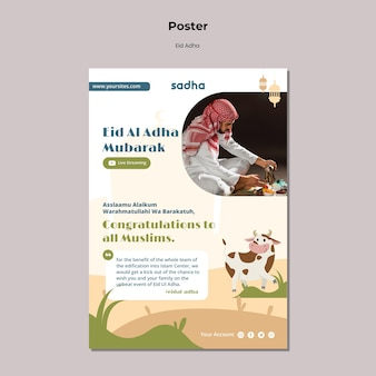 Pionowy szablon plakatu na obchody eid al-adha