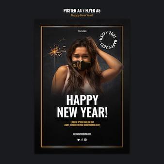 Pionowy szablon plakatu na obchody nowego roku