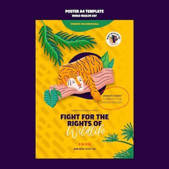 Pionowy szablon plakatu na obchody światowego dnia dzikiej przyrody