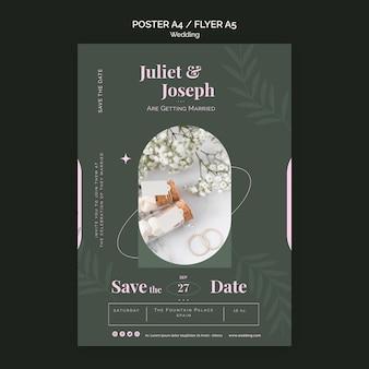 Pionowy szablon plakatu na ślub