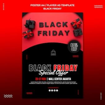 Pionowy szablon plakatu na sprzedaż w czarny piątek
