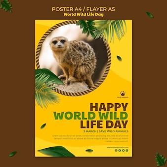 Pionowy szablon plakatu na światowy dzień dzikiej przyrody ze zwierzęciem