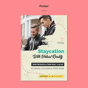 Pionowy szablon plakatu na wakacyjny wyjazd w wirtualnej rzeczywistości