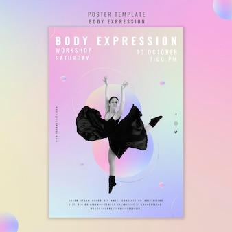 Pionowy szablon plakatu na warsztaty ekspresji ciała