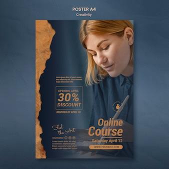 Pionowy szablon plakatu na warsztaty kreatywnej ceramiki z kobietą