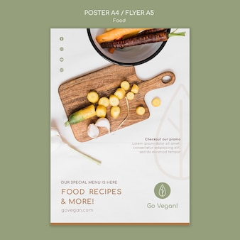 Pionowy szablon plakatu na wegańskie jedzenie