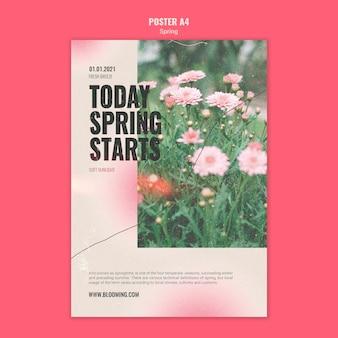 Pionowy szablon plakatu na wiosnę z kwiatami