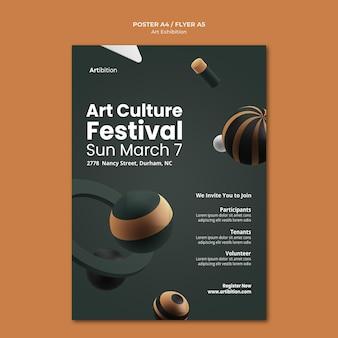 Pionowy szablon plakatu na wystawę sztuki o geometrycznych kształtach