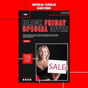 Pionowy szablon plakatu na zakupy w czarny piątek