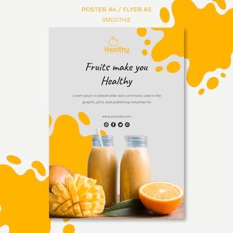 Pionowy szablon plakatu na zdrowe koktajle owocowe