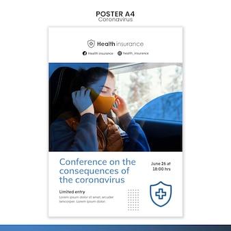 Pionowy szablon plakatu pandemii koronawirusa z maską medyczną