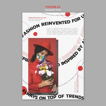 Pionowy szablon plakatu przedstawiający trendy w modzie z kobietą noszącą maskę